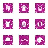 Clothes For Riding Icons Set. Grunge Set Of 9 Clothes For Riding Vector Icons For Web Isolated On Wh poster