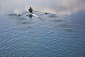Single Scull Rowing Competitor, Rowing Race One Rower poster
