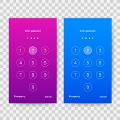 Screen Lock Authentication Password Smartphone Background Template. Illustration Of Phone Id Recogni poster