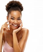 Happy Smiling Woman With Natural Makeup. Photo Of Young African Woman On White Background. Beauty &  poster