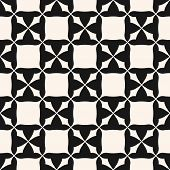 Vector Monochrome Seamless Pattern. Abstract Black And White Geometric Texture With Square Staggered poster