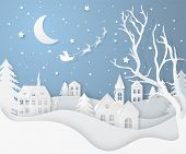 Vector Winter Night Landscape With Fir Trees, Houses, Moon, Santas Sleigh, Stars, Deers And Snow In poster