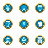 European Restaurant Icons Set. Flat Set Of 9 European Restaurant Icons For Web Isolated On White Bac poster