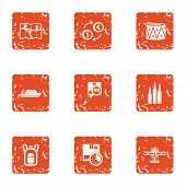 Finding Ways Icons Set. Grunge Set Of 9 Finding Ways Icons For Web Isolated On White Background poster