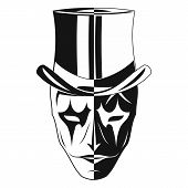 The Vector Image Of A Mask Of A Joker In The Cylinder. Two Parties - Black And White, The Good And E poster