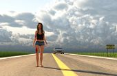 3d Illustration Of Injured Woman Walking On Highway After Trying To Escape From A Killer poster