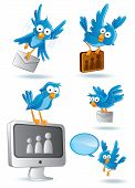 stock photo of bluebird  - cartoon illustration of social media network bluebird - JPG