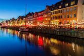 Evening Panorama Of Nyhavn District Architecture In The Old Town Of Copenhagen, Denmark poster