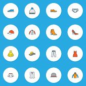 Dress Icons Colored Line Set With Waistcoat, Mini, Gumshoes And Other Vest Elements. Isolated Vector poster