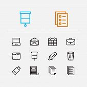 Workspace Icons Set. Case And Workspace Icons With Mail, Flash Drive And Laptop. Set Of Directory Fo poster