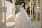 Elegant Wedding Salon Is Waiting For Bride. Happy Bride Before Wedding. Wonderful Bridal Gown. Beaut poster