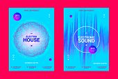 Music Event Banner. Techno Sound Wave Poster. Vector Amplitude Of Dotted Lines. Wave Music Equalizer poster