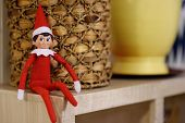 Funny Christmas Toy Elf On Shelf. American Christmas Traditions. Xmas Activities For Family With Kid poster