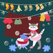Cute Kitty Washes Clothes. Vector Illustration. Beautiful Card With Lovely Animal And Bubbles. poster