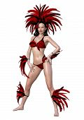 3D Rendering Circus Showgirl On White poster