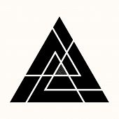 Sacred Geometry. The Crossed Linear Triangles. Secret Symbol Of Geometry. Sacred Triangular Symbol O poster