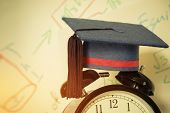 Graduation Cap On Top Retro Alarm Clock With Math Formula Equation Graph On Screen Classroom. Ideas  poster