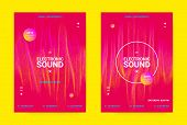 Flyer For Dance Event. Techno Sound Performance Wave Poster. Vector Music Equalizer Concept. Amplitu poster