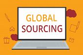 Word Writing Text Global Sourcing. Business Concept For Practice Of Sourcing From The Global Market  poster
