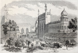 picture of camel-cart  - Old illustration of main street in Lucknow - JPG
