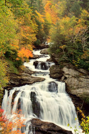 picture of smoky mountain  - Beautiful free flowing veiled waterfalls in the Smoky Mountains in Autumn - JPG