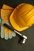 picture of tape-measure  - Working wear helmet gloves and tools for security - JPG