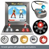 image of arcade  - Illustrations of arcade game with joysticks and buttons - JPG