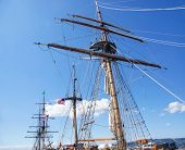 stock photo of yardarm  - Mast yardarms rigging and sails of tall ship near Kirkland Washington - JPG