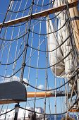 pic of yardarm  - Mast yardarms rigging and sails of tall ship near Kirkland Washington - JPG