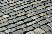 stock photo of pavestone  - The stone block pavement is photographed close - JPG