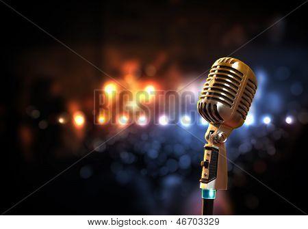 audio microphone retro style poster