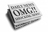 stock photo of newspaper  - Daily news newspaper headline reading OMG shocking news concept for astonishing news - JPG
