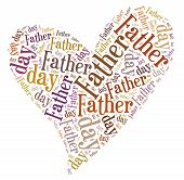 Tag or word cloud Father's day related in shape of heart