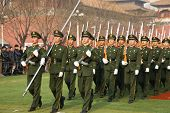 BEIJING - DECEMBER 27: Chinese soldiers are marching training for preparation of the national flag c