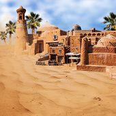 pic of oasis  - Old fabulous city with palm trees in the desert  - JPG