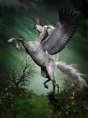 image of dapple-grey  - A dapple grey pegasus takes to flight from a forest knoll with huge wing beats - JPG