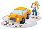 foto of kinetic  - Illustration of a girl fixing a broken car on a white background - JPG
