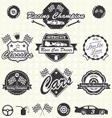 image of car symbol  - Collection of vintage style race car driving champion labels and icons - JPG