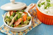 picture of chinese wok  - Chicken stir fry with vegetables  - JPG