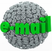 The word e-mail on a sphere of at signs or symbols to illustrate an overwhelming number of electroni