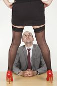 foto of peeping-tom  - Image of secretary trying to seduce her male boss in office - JPG