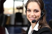 stock photo of telemarketing  - Call center operator at work - JPG