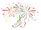 image of firework display  - vector abstract anniversary fireworks on white background - JPG