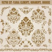 stock photo of damask  - Set of vector damask ornaments - JPG