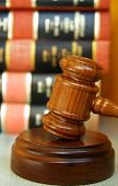 image of law-books  - Judges gavel with a stack of law books - JPG
