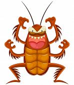picture of cockroach  - funny cartoon cockroach making a scary face - JPG
