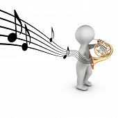 picture of aerophone  - A 3D character playing french horn  - JPG