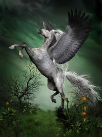 picture of dapple-grey  - A dapple grey pegasus takes to flight from a forest knoll with huge wing beats - JPG