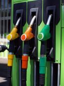 image of bp  - Colored fuel pumps at the petrol station - JPG