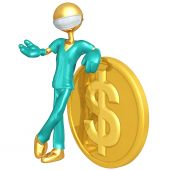 3D Doctor Character With Gold Coin